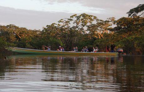 Sonnenuntergang in einer Lagune in Cuyabeno, Ecuador