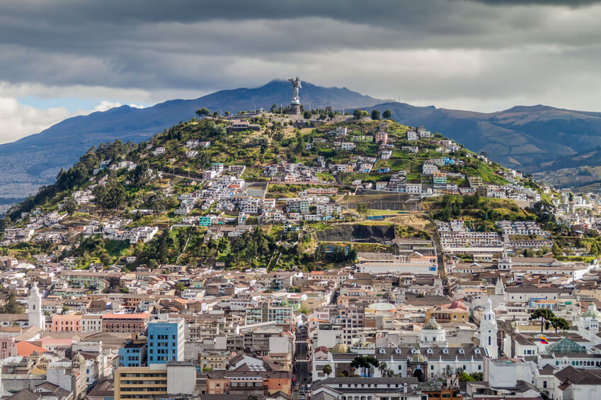 Quito in Ecuador, with view to the Panecillo