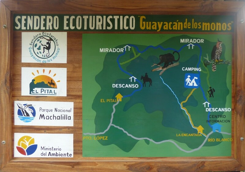 Map for the monkey hike, Ecuador
