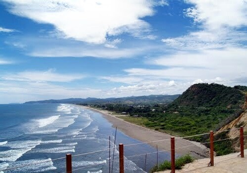 View to the beach of Olón from Santuario, Ecuador