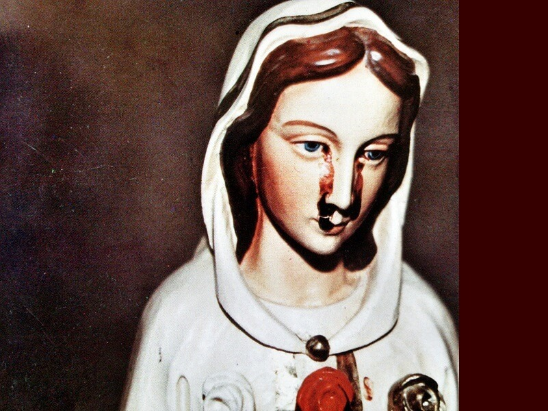 Statue of the Virgin Mary cries tears of blood, Ecuador